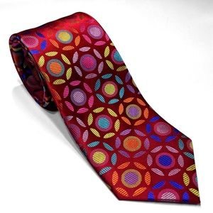 Red Circles Silk Tie By Lawrence Ivey Multi-color